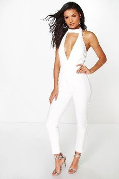 98575a2496d2a #boohoo High Neck Deep Plunge Jumpsuit - ivory DZZ96533 #Jumpsuits are your  day-