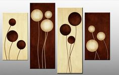 diy canvas art | Large Brown Cream Abstract Canvas Picture Wall Art Split Multi 4 panel ...