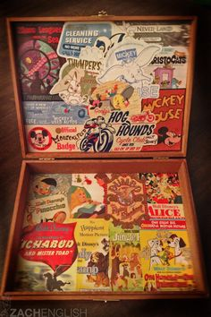 "retrodisney: "" Retro Disney Stickers + Mod Podge + Old Cigar Box = Fun Disney Memories Chest "" Cigar Box Art, Cigar Box Purse, Wooden Cigar Boxes, Cigar Box Projects, Cigar Box Crafts, Craft Projects, Craft Ideas, Altered Cigar Boxes, Shabby"