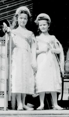Olga and Tatiana (high quality zoom of famous photo on the day of Alexei's christening)