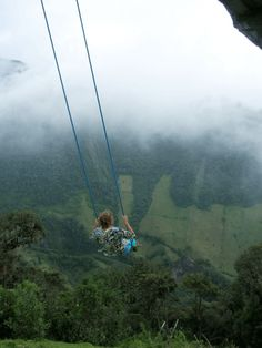 The Swing at the End of the World is a breathtaking little treasure in the mountains near Baños, Ecuador. The high-flying rope swing hangs from a treehouse called Casa del Arbol, which is actually an observation center for Mt. Tungurahua, an active volcano in the background. The swing arches you into infinite space, beyond the edge of the cliff thousands of feet above ground, and without even a safety belt to keep you on.  10 Most Surreal Destinations in the World