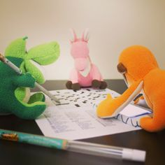 Today is Dictionary Day!!! The Smanimals celebrated by doing a crossword puzzle together. They decided to use a dictionary app since it's easier on their small paws.
