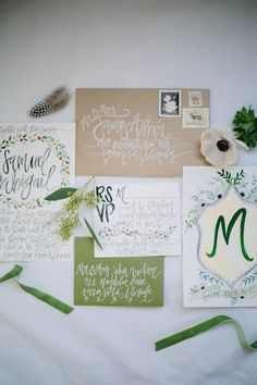 Earthy Watercolor Wedding Invitations Greens / by ShannonKirsten