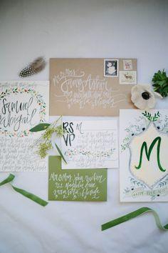 Earthy Watercolor Wedding Invitations Greens / by ShannonKirsten