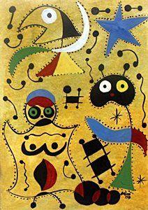 Mujer Y El Hijo En La Noche - Oil On Paper - Joan Miro