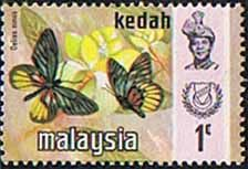 Malay State of Kedah 1971 Butterflies Fine Mint                       SG 124 Scott 113    Other Asian and British Commonwealth Stamps HERE!