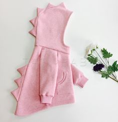 Pink # # DINOzavurk # # @ _ tati_baby_ # # Footer # # Thread, # Cotton # # # Color: # Pink # Melange # (on # photo), # Black, # Dark Green. Sewing For Kids, Baby Sewing, Cute Baby Clothes, Diy Clothes, Baby Girl Dresses, Baby Dress, Toddler Outfits, Baby Boy Outfits, Little Girl Fashion