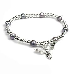 Silver Plated Bee Charm Bracelet With Grey Pearls