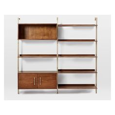 West Elm Linden Mid-Century Wide Shelf Unit + Wide Storage Shelf Unit - Walnut/Blackened Brass found on Polyvore featuring polyvore, home, furniture, storage