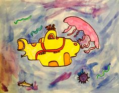 Yellow Submarine and Heinz Edelmann  Fifth Grade students were guided through a drawing of the famous Beatles yellow submarine and then encouraged to create their own Edelmann look. We also looked at the work of Peter Max in comparison and period work.