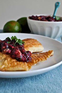 Crispy Honey Lime Tilapia with Blueberry Lime Salsa | howsweeteats.com