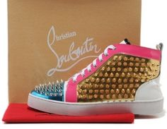 christian louboutin louis spikes high top mens sneakers blue gold clearance via Luxury store. Click on the image to see more!