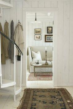 Room Seventeen: Swedish Interiors - vertical wood plank walls, floors, wall color wash, rugs