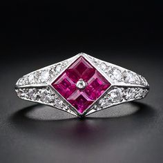 Art Deco Style Ruby and Diamond Dinner Ring - 30-1-4178 - Lang Antiques