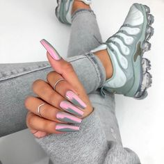 100 best stunning coffin nails ideas ♥ with different color page page 06 Shoe Nails, Coffin Nails, Gorgeous Nails, Pretty Nails, Nails Polish, Gel Nails, Uñas Fashion, Cute Acrylic Nails, Acrylic Nails Chrome