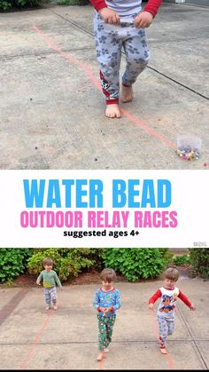 Step outside with your older kids for an epic water bead relay race! Outdoor Games For Toddlers, Camping Activites For Kids, Outside Games For Kids, Art Games For Kids, Summer Preschool Activities, Physical Activities For Kids, Outdoor Activities For Kids, Toddler Activities, Backyard Games For Kids