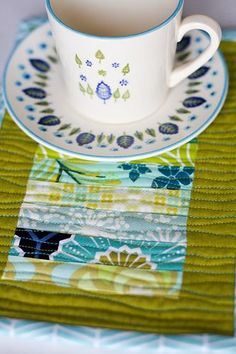 Scrappy Stack Mug Rug - a large coaster for your mug and snack - great for kids juice and a snack - throw in the wash - go green no need for paper napkin!! Great Idea and easy to make!!