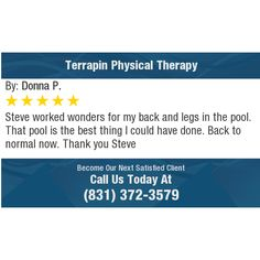 Steve worked wonders for my back and legs in the pool. That pool is the best thing I could...