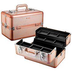 makeup box case. rose gold train case makeup box k