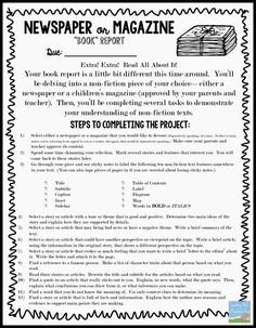 "Nonfiction Newspaper or Magazine ""Book"" Report free assignment sheet."