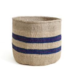 Blue and purple striped basket - Kenya