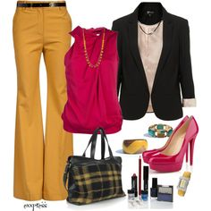 """Mustard Trousers"" by exxpress on Polyvore"