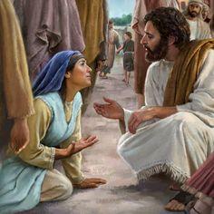 Jésus parlant avec bonté à une femme qui avait été malade pendant 12ans