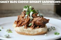 Saucy Bleu Cheese Brisket Sandwiches (Mix and Match Mama) Supper Recipes, Entree Recipes, Fall Recipes, Slow Cooker Recipes, Crockpot Recipes, Cooking Recipes, Slow Cooking, Mix Match, Brisket Sandwich Recipe