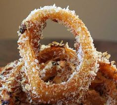 Amaze Your Family - Baked BBQ Onion Rings: panko breadcrumbs, all-purpose flour, barbecue sauce, sweet onion, cooking spray, barbecue sauce, large eggs, all-purpose flour, panko breadcrumbs, sweet onion