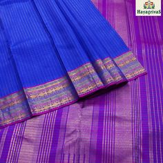 Royal Blue check Pure #Kanjivaram silk with beautiful thread purple border, pallu and blouse. Shop our wide range of collections at #hayagrivassilkhouse. #Silksarees #Traditionalsilks #Weddingsilks #Kanjivaramsilks  Visit us: https://www.hayagrivassilkhouse.com/saris/3495.html Call us: +91 9840 582892