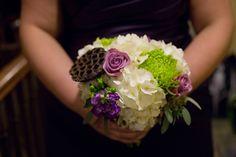 White And Purple Bridesmaid Bouquet