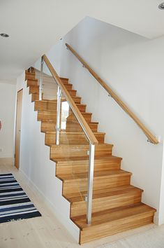 Bespoke stairs in american oak. Wood Staircase, Stair Handrail, Modern Staircase, Staircase Design, Open Stairs, Glass Stairs, Frameless Glass Balustrade, Stair Plan, Feature Wall Design
