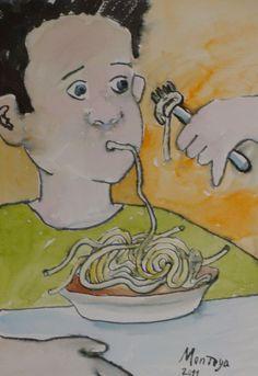 Comiendo espagueti. Exposición Museo Arte Moderno de Mazatlán, Sinaloa, México, Noviembre 2011. Juan Montoya López