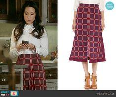 Joan's burgundy checked skirt on Elementary.  Outfit Details: https://wornontv.net/56265/ #Elementary