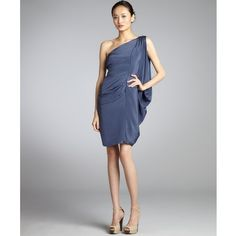 Nicole Miller Smoke Blue Silk Stretch Woven Draped One-Shoulder Dress ($195) ❤ liked on Polyvore