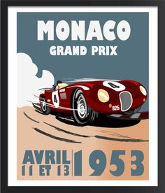 The Monaco poster is inspired by my love of old vintage car posters. **COLORS** Color choices are shown in the fourth picture above. Please leave your color choice in the notes to seller or choose from the drop down list. **SIZE** All prints are printed on paper with a small white border. The image sizes are approximately 8x10, 11x14, 16x20, 18x24 and 24x36. **Shipping** Prints are shipped within 1-3 business days of payment receipt. We use USPS for standard shipping. Prints are packaged in…