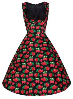 Sweet Sweetheart Neck Sleeveless Strawberry Print Women's Dress