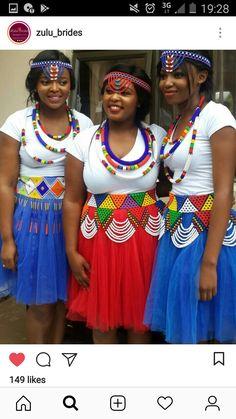 Zulu Traditional Attire, Traditional Design, African Beauty, African Fashion, First World, Dressing, Bride, Appliques, Wedding Ideas