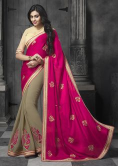 "Saree Fabric: Georgette and Chiffon Blouse Fabric: Art Silk and Net. Saree Color:Multi Color. blouse Color: Beige Saree Work:Resham, Zari & Patch Border Work ACCESSORIES: NA Note: Blouse is unstiched and can be customized up to 42"". Price: Rs.4095/-  For more details and order whatsapp us on:9604581640"