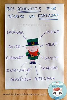 French Anchor Chart - Le Farfadet et des Adjectifs - great for St. Patrick's Day - la Saint-Patrick - français