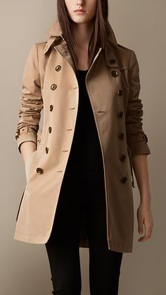 Trench coat medio in popeline di cotone | Burberry