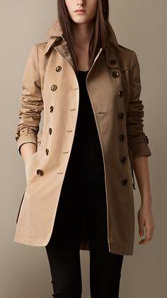 Trench coat medio in popeline di cotone | Burberry
