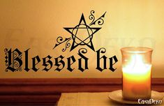 Wall Decal Pentagram  Blessed be - Pagan Wall Art Sticker Magic Mystic Witch Home Decor Livingroom Wall Stickers Room Wiccan Paganism