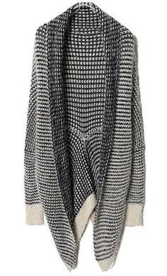 Black & White Striped Long Sleeve Cardigan Sweater - Sheinside