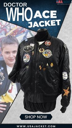 Doctor Who Ace Patches and Badges Bomber Jacket Doctor Who Shop, Rib Knit, Badge, Bomber Jacket, Knitting, Jackets, Shopping, Color, Down Jackets