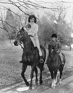 Jackie Kennedy horseback riding with the family