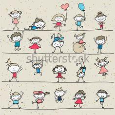 Enfants Heureux DE Dessin Cartoon Jouant DE LA Main image vectorielle - Clipart.me Character Drawing, Drawing Cartoon Characters, Cartoon Faces, Cartoon Sketches, Cartoon Kids, Drawing Sketches, Stick Figures, Drawing People, Kids Playing