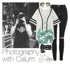 """""""Photography with Calum"""" by acc70913 ❤ liked on Polyvore featuring Topshop, Ray-Ban, Motel, Dorothy Perkins and Eos"""