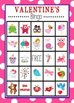 Throwing a baby shower for someone and need some help with the planning? I've got a cute, easy, free printable baby shower game idea for you. It's baby shower bingo cards! I made one versi. Easter Bingo, Valentine Bingo, Valentines Games, Valentines Day Activities, My Funny Valentine, Valentines Day Party, Valentines For Kids, Valentine Day Crafts, Printable Valentine
