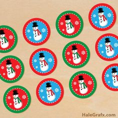 Click here to download FREE Printable Christmas Snowman Cupcake Toppers!